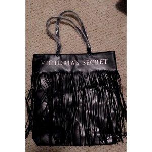 *NEW* Victoria's Secret Black fringe tote